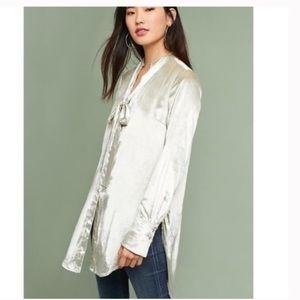 Anthropologie Maeve silver velvet tunic top